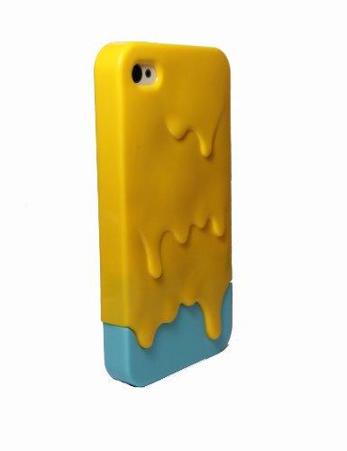 Housse Coque 3D Glace fondue Protection pour iPhone 4 4S Melt Ice Cream dégoulinante Jaune et Bleu Clair