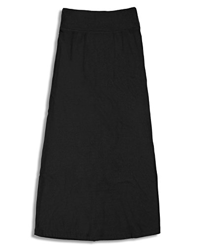 Free to Live Girls 7-16 Maxi Skirts - Great for Uniform (Medium, Black)