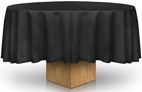90-Inch Round Tablecloth - 100 Percent Polyester - Professionally Hemmed Edges - by Utopia Kitchen (Black)