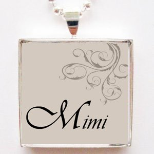 Mimi Glass Tile Pendant Necklace With Chain