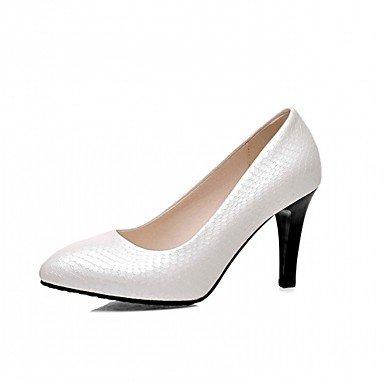 Talones de las mujeres de cuero Primavera Otoño Comfort oficina y carrera del vestido ocasional de tacón de aguja Negro Blanco astilla de almendra Almond