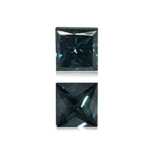 Mysticdrop 0.27 Cts of 3.3x3.5x2.7 mm Princess Cut Teal Blue Diamond (1 pc) Loose Color Diamond