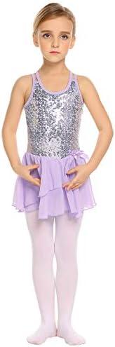 Arshiner Girls Sequined Camisole Ballet Dance Leoatards Dress with Spark Tutu Skirt
