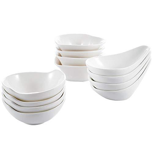 Set Dip Dishes - Malacasa Set of 12 Porcelain Snack Dish Set Ceramic Condiment Set, Sauce Dip Bowls Serving Dish,White Snack Bowls for Ice cream,Dessert, Seasonings/Appetizers, 4 Shape