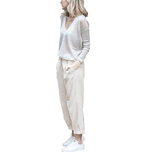 FarJing Pants for Womens,Clearance Sale Women Plus Size Casual Cotton Linen Pants Elastic Waist Summer Slim Lady Pants(4XL,Beige