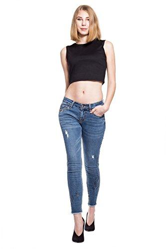 Monkey Basic Jeans Donna Blau Blue Corto zTgqxT1wnp