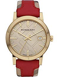 - Burberry Luxury Swiss Gold Watch Unisex Womens Men The City Collection Check Authentic Red Leather Beige Date Dial BU9017