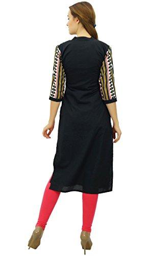 Imprim Tunique Kurti Femmes Mandarin Phagun Ethinc Noir Designer Chic Kurta Collar qwX6UPFU