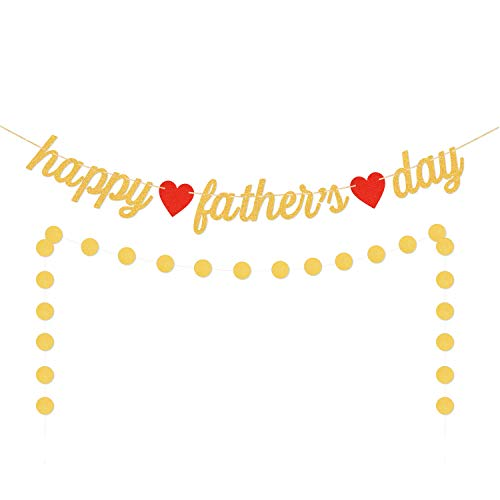 Aozer Happy Fathers Day Banner Gold Glitter Father's Day Banner Rustic Fathers Day Party Decorations