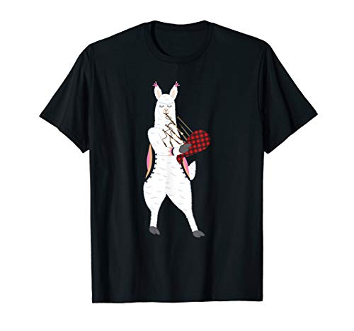 - Cute Alpaca Llama Playing Bagpipes Scottish Musical SHIRT