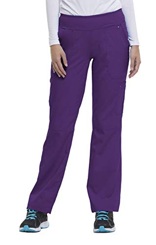 healing hands Purple Label Yoga Women's Tori 9133 5 Pocket Knit Waist Pant Scrubs- Eggplant- Large Petite