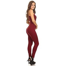 - 31GqG60mc 2BL - Stretch Cotton Bodysuit Women Stretch Cotton Spaghetti Full Length Romper Jumpsuits Unitard Bodysuits (&Plus)