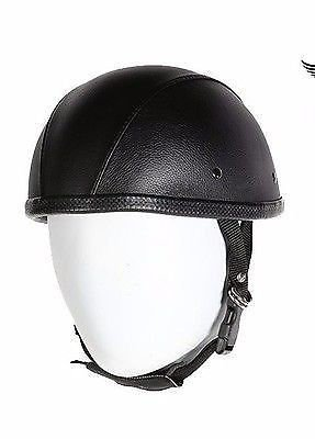 Leather Covered Motorcycle Helmet - 4