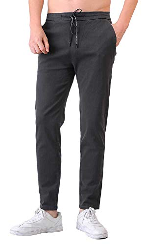 (Plaid&Plain Men's Elastic Waist Pants Slim Fit Pants Drawstring Chino Pants 6605 Grey 38x29)