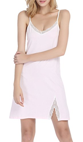 Chamllymers Women Sexy Cotton Sleepwear Lace Neck Chemise Pink M