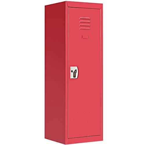 """48"""" H Red Metal Kid Locker Storage Safe Children Cabinet Single Tier Lock Organizer w/Key with Ebook from NanaPluz"""
