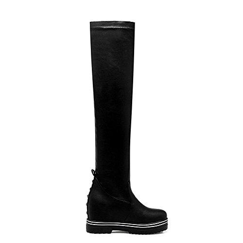 VogueZone009 Damen Rein Weiches Material Hoher Absatz Reißverschluss Schließen Zehe Stiefel, Braun, 40