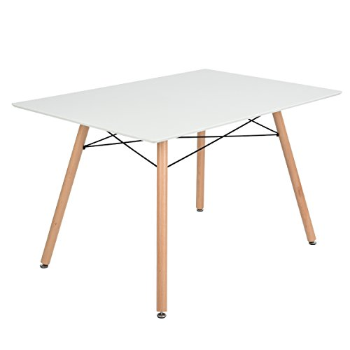 - GreenForest Dining Table Rectangular Top with Wooden Legs Modern Leisure Coffee Table 44'' x 28'' Compact Size White