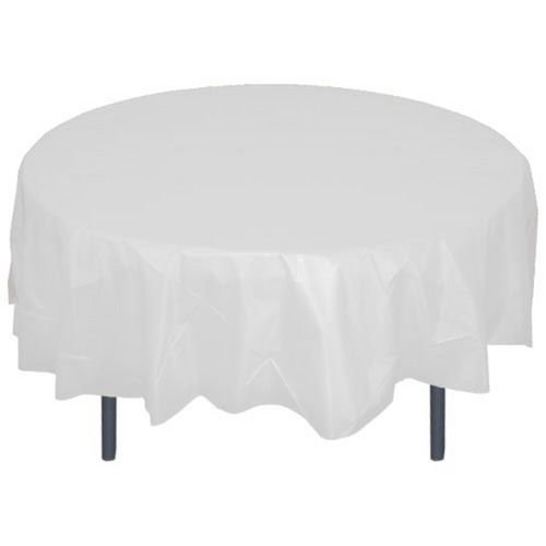 """DZ-12 Pcs Solid Color 84"""" Round Plastic Tablecloth - Bulk Packs- FREE SHIPPING- 20 colors (White)"""