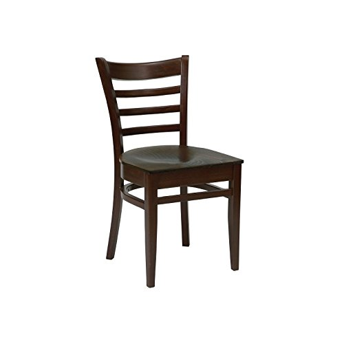 Walnut Finish Wooden Bolero CD186-PL Dining Side Chair with Horizontal Slats Pack of 2