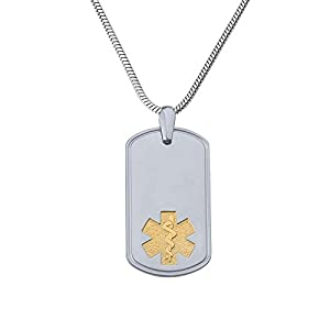 Divoti Custom Engraved Deluxe PVD G/S Pure Titanium Medical Alert Necklace -Dog Tag-Stainless Snake Chain