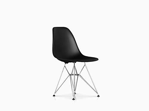 - Herman Miller DSR Eames Molded Plastic Dining Chair, Black Shell/Chrome Base