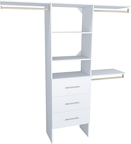 ClosetMaid 1937040 SuiteSymphony Modern 25-Inch Closet Organizer with Shelves and 3-Drawers, Pure White (Closetmaid Organizers)