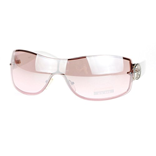 Womens Elegant Rimless Shield Warp Luxury Designer Sunglasses White Pink (Shield Sunglasses)