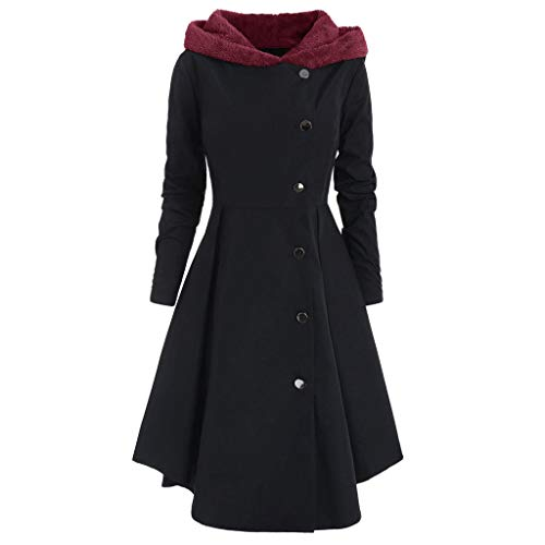 - AgrinTol Women Plus Size Coat Winter Asymmetric Fleece Coat Hooded Single Breasted Long Drap Buttons Coat XL-4XL