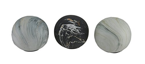 Zeckos 3 Piece Swirling Marble Finish Ceramic Decor Ball Set 4 Inch