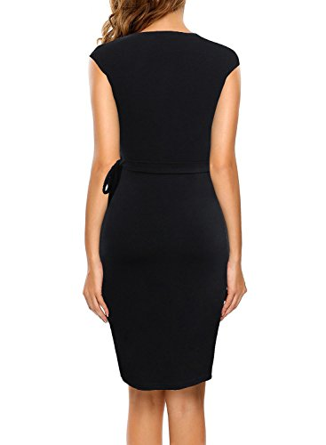 Berydress-Womens-Classic-Cocktail-Party-Cap-Sleeve-Deep-V-Neck-Draped-Waist-Tie-Belt-Knee-Length-Faux-Wrap-Dress