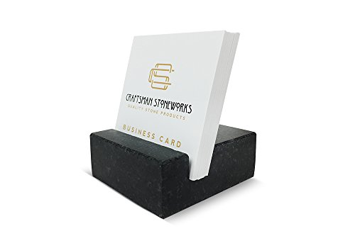 - Square Business Card Holder Black Absolute Granite