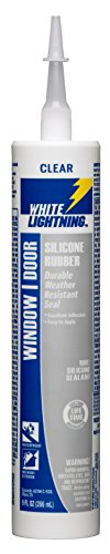 (White Lightning W31111010 Silicone Rubber Window and Door Sealant, Clear, 10 OZ)