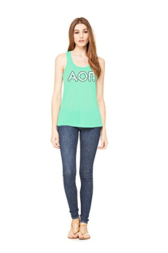 Alpha Omicron Pi Sorority | Licensed Greek Flowy Ladies' Racerback Mint Tank Top