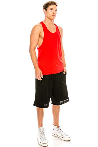 Unisex Workout Deep Cut Racer Back Muscle RED Tank Top Medium]()