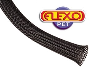 Techflex PTN0.25BK25 Flexo PET General Purpose 1/4-inch Braided Cable Sleeve, Black - 25 Foot (Wire Braid)