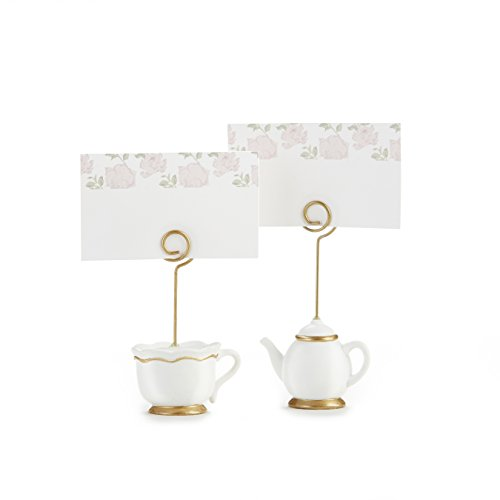 Kate Aspen, Place Card Holders, Tea Time Whimsy, Teapot and Teacup, Place Cards Included, Set of - Bud Vase Scalloped