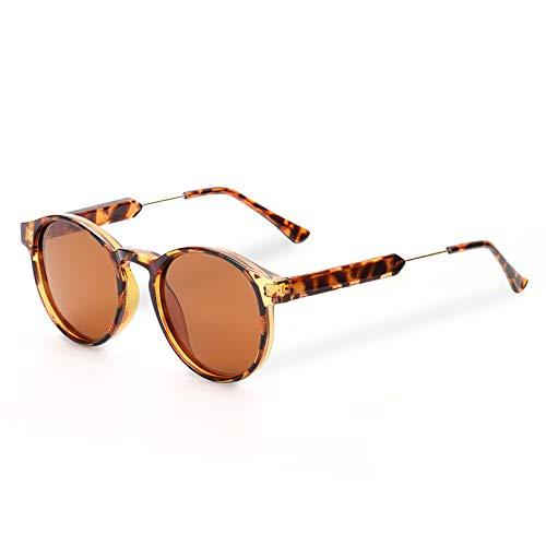 Polarized Sunglasses for Women Retro Round Womens Sunglasses Vintage Shades Brown Lens/Tortoise Frame