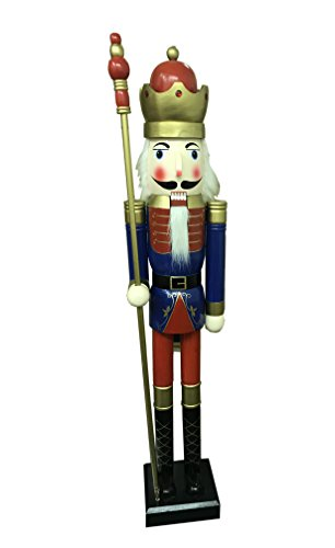CDL 6ft tall life-size large/giant blue Christmas wooden nutcracker king ornament on stand holds golden scepter for indoor outdoor Xmas/event/ceremonies/commercial decoration K34