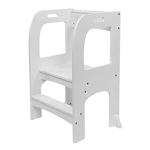 Lauraland Kids Kitchen Step Stool, Kitchen Helper High-Rise Step-Up, Kids Step Stool with Handles, Anti Skid Pad with a Waterproof (White)