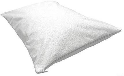 Fundas protectoras de almohadas de 50 X 90 cm, con cremallera, hechas 100 % de algodón, lavables a máquina, antialérgicas, antibacterianas, 100 % ...