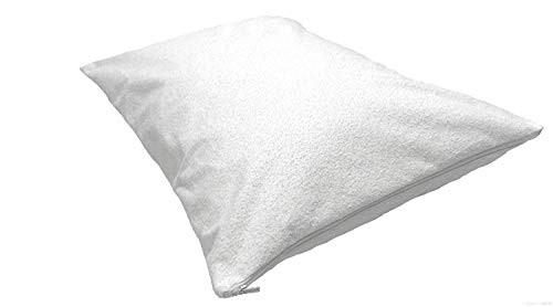 Cotton Sateen Pillow Protector - pillow protectors zippered 2 Pack - White Color Allergy Dust Mite Resistant Premium 400 Style High Thread Count Cotton Sateen Hypoallergenic Soft Hotel Quality. (Travel (12