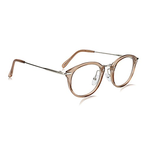 WOWSUN Vintage Goggle Stylish Glasses Women Metal Temple Clear Lens Eyeglasses - For Eyeglasses Face Shape Right