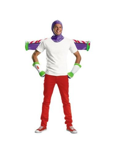 Disguise Men's Disney Pixar Toy Story and Beyond Buzz Lightyear Adult Costume Kit, White/Purple/Green/Red, One Size -