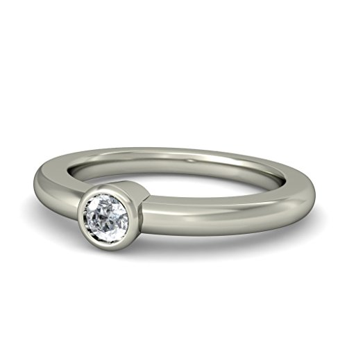 18K Or Blanc, 0.11carat Diamant Taille ronde (IJ | SI) en diamant