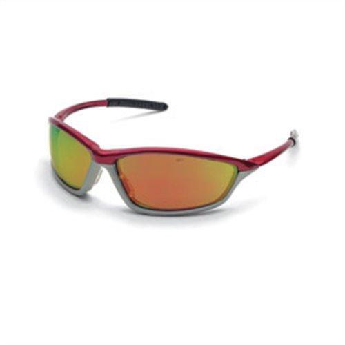 Safety Protective Eyewear, Crimson Stone Crimson Frame, Fire Mirror Lens by - Eyewear Stone