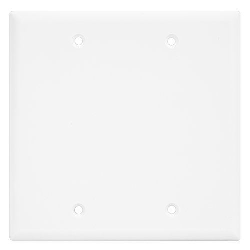 Wall Plate Plates 2 Hole - Enerlites 8802-W Blank Device Wall Plate by Home Electrical Outlet Cover, 2-Gang Standard Size, Unbreakable Polycarbonate, White, Replacement Panel Hole Covering