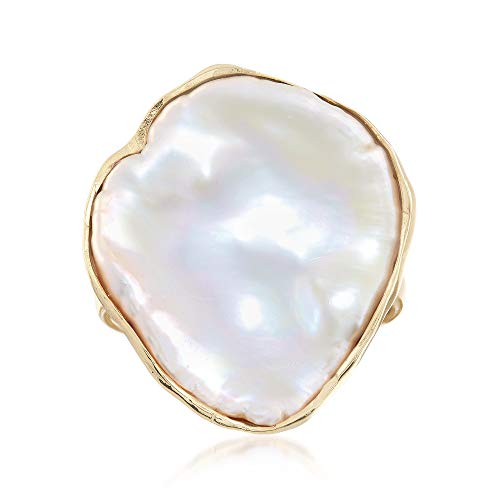 (Ross-Simons Cultured Baroque Keshi Pearl Free-Form Ring in 18kt Gold Over Sterling )