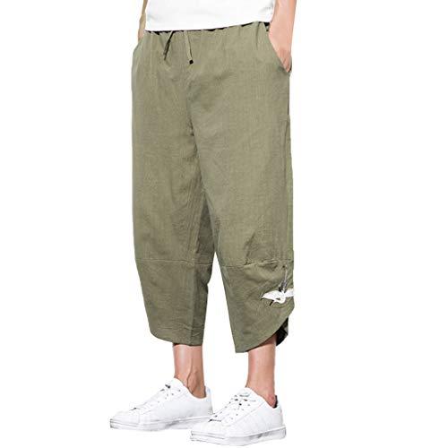 TIANMI Men's Summer Fashion Leisure Cotton and Linen Embroidery Loose Calf-Length Pants(Army Green,XXXXXL)