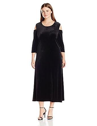Joan Vass Women\'s Plus Size Maxi Velvet Dress at Amazon Women\'s ...